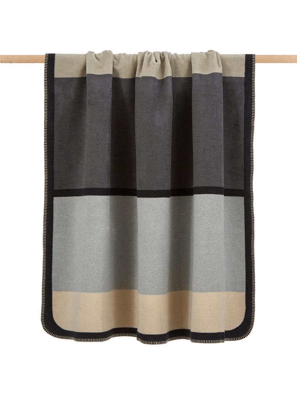 Wendeplaid Deux, 65%Baumwolle, 35%Polyacryl, Grau, Schwarz, Beige, 150 x 200 cm