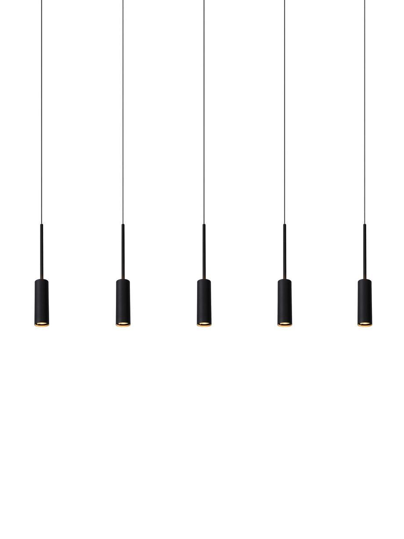 Große LED-Pendelleuchte Tubule, Baldachin: Aluminium, beschichtet, Schwarz, 101 x 34 cm
