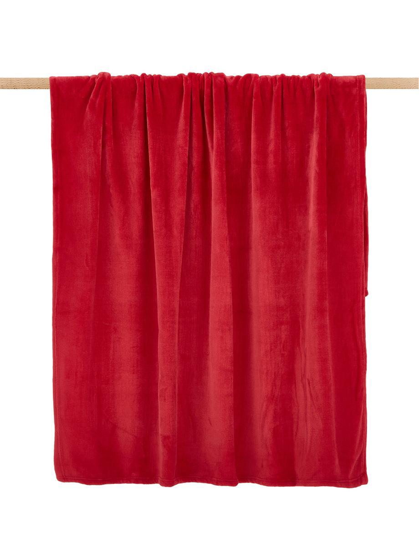 Miękki pled z polaru Doudou, Poliester, Czerwony, S 130 x D 160 cm
