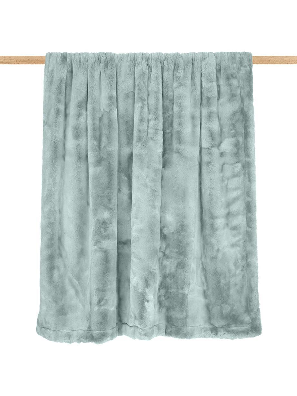 Manta de piel sintética Mette, lisa, Parte superior: 100% poliéster, Parte trasera: 100% poliéster, Verde, An 150 x L 200 cm
