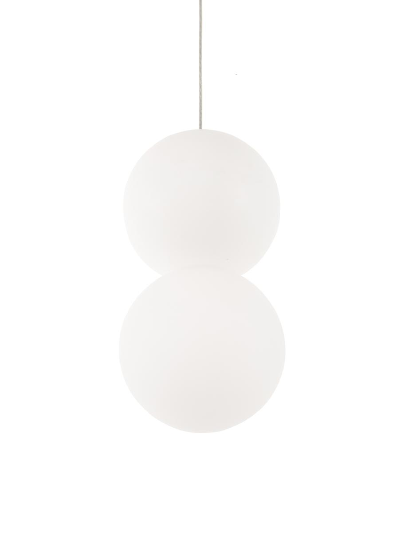 Kleine Pendelleuchte Zero aus Opalglas, Lampenschirm: Gips, Opalglas, Baldachin: Aluminium, beschichtet, Weiß, Ø 10 x H 120 cm