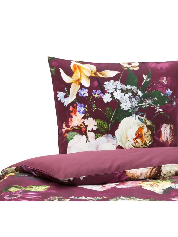 Baumwollsatin-Bettwäsche Fleur mit Blumen-Muster, Webart: Satin Fadendichte 209 TC,, Burgund, Mehrfarbig (Weiss, Grün, Gelb), 135 x 200 cm + 1 Kissen 80 x 80 cm