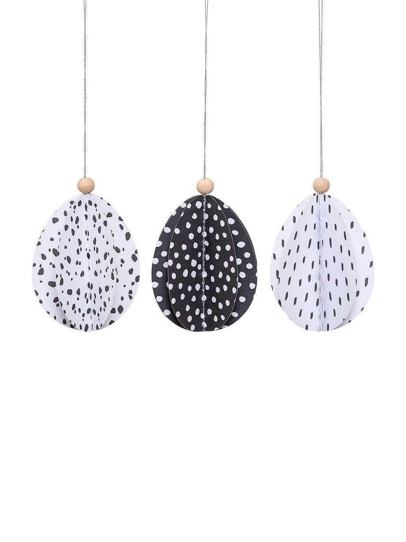 Set 3 oggetti decorativi Aluno, Carta, legno, Nero, bianco, Ø 7 x Alt. 9 cm