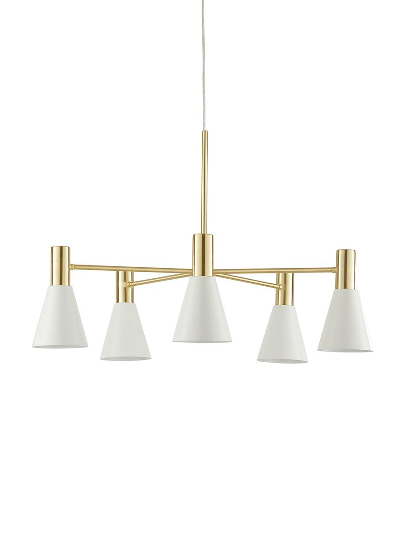 Hanglamp Sia, Lampenkappen: mat wit. Baldakijn en lampframe: geborsteld messingkleurig, Ø 75 cm