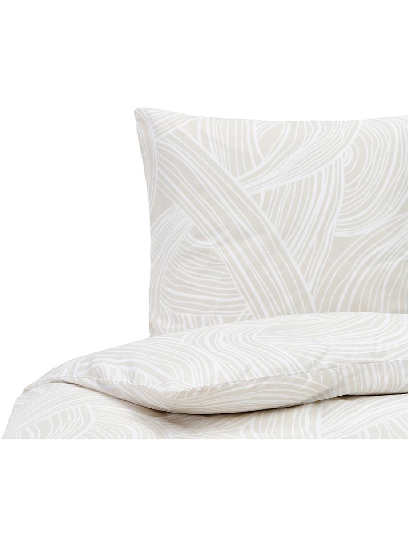 Gemusterte Baumwoll-Bettwäsche Korey, Webart: Renforcé Fadendichte 144 , Beige,Weiß, 135 x 200 cm + 1 Kissen 80 x 80 cm