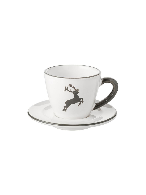 Handbemalte Espressotasse mit Untertasse Gourmet Grauer Hirsch, Keramik, Grau,Weiß, 60 ml