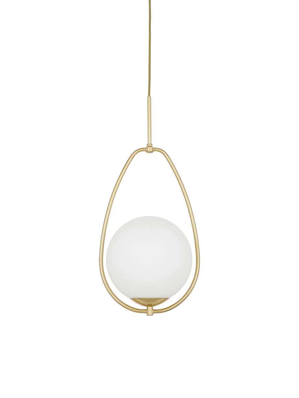 Kleine Pendelleuchte Avalon aus Opalglas, Lampenschirm: Glas, Baldachin: Metall, lackiert, Weiss, Goldfarben, Ø 23 x H 51 cm
