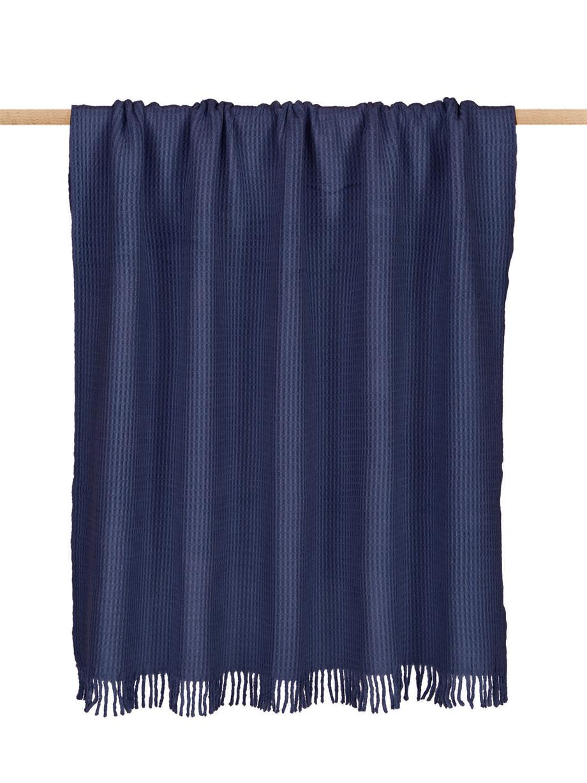 Monochroom waffelpiqué plaid Sara in donkerblauw, 50% katoen, 50% acryl, Donkerblauw, 140 x 180 cm