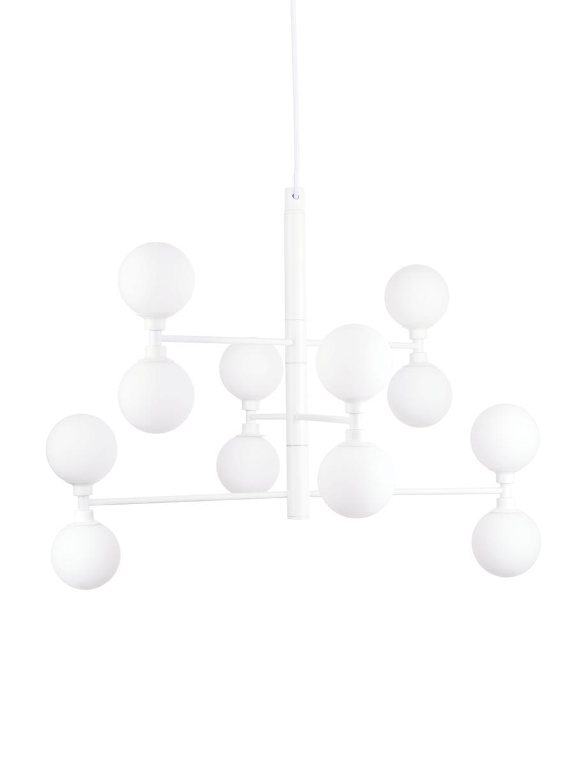Große Pendelleuchte Grover mit Glaskugeln, Baldachin: Metall, pulverbeschichtet, Weiß, Ø 70 x H 56 cm