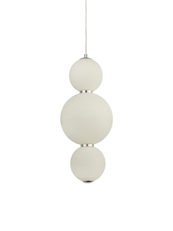 Lampada a sospensione a LED Snowball, Paralume: vetro opale, Baldacchino: metallo cromato, Bianco opalino, cromo, Ø 18 x Alt. 43 cm