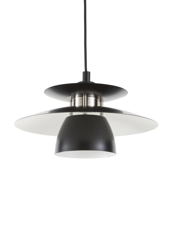 Lámpara de techo pequeña Brenda, Pantalla: metal pintado, Casquillo: metal, Anclaje: metal pintado, Cable: cubierto en tela, Negro, Ø 32 x Al 19 cm
