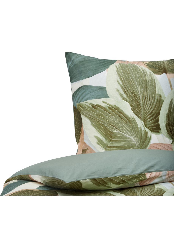 Pościel Hosta, Zielony, blady różowy, kremowobiały, 135 x 200 cm + 1 poduszka 80 x 80 cm