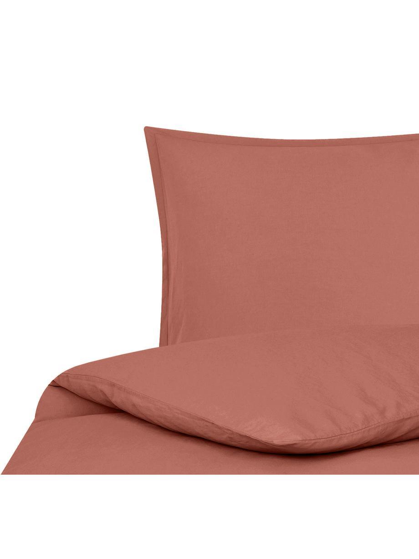 Funda nórdica de lino Nature, 52%lino, 48%algodón Con efecto Stonewash para una sensación más suave, Terracota, Cama 90 cm (150 x 220 cm)