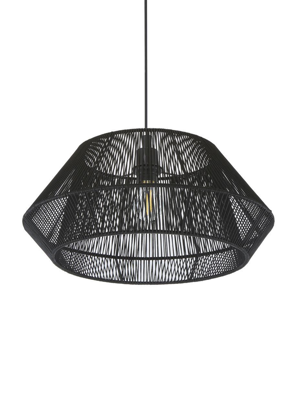 Hanglamp Hadi, Baldakijn: gepoedercoat metaal, Lampenkap: gepoedercoat metaal, Zwart, Ø 48 x H 22 cm