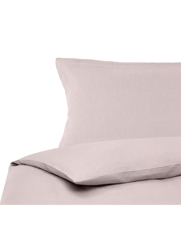 Pościel z lnu z efektem sprania Nature, Brudny różowy, 135 x 200 cm + 1 poduszka 80 x 80 cm