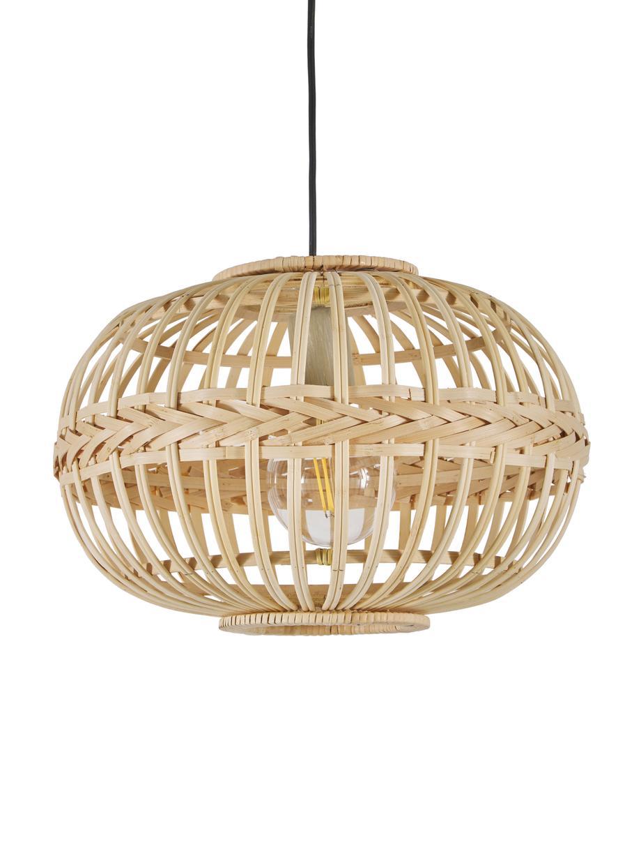 Lámpara de techo de bambú Becca, Pantalla: bambú, madera contrachapa, Anclaje: metal con pintura en polv, Cable: plástico, Beige, Ø 38 x Al 27 cm