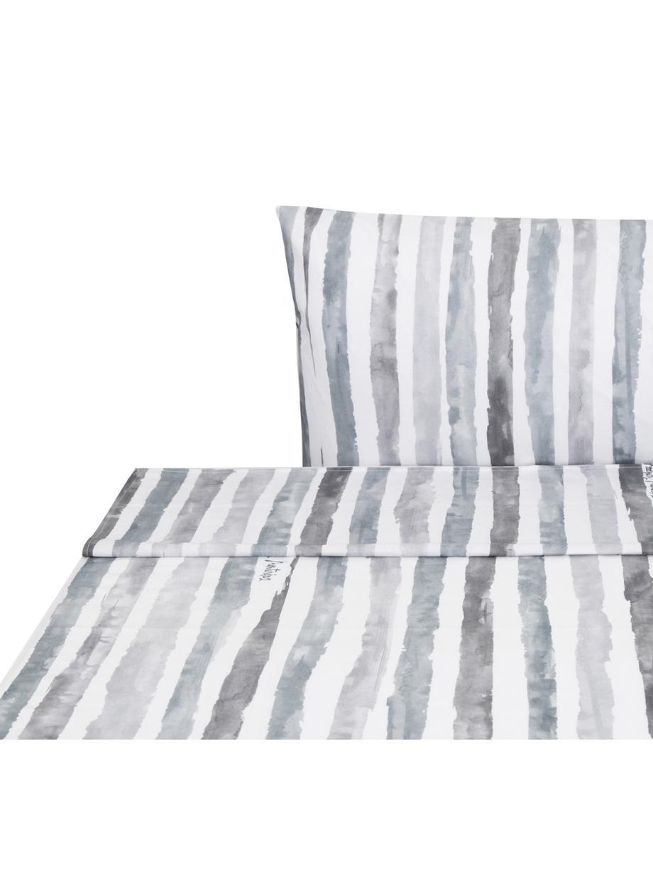 Sábana encimera Capri, Algodón, Blanco, gris, Cama 150/160 cm (240 x 270 cm)