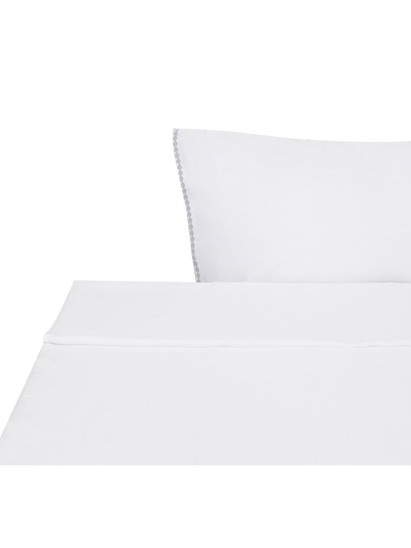 Sábana encimera de satén con bordado Maresa, Algodón satinado, Blanco, Cama 90 cm (160 x 270 cm)