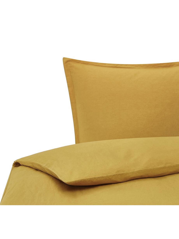 Pościel z lnu z efektem sprania Nature, Musztardowy, 135 x 200 cm + 1 poduszka 80 x 80 cm