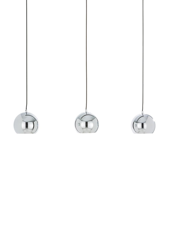 Große Kugel-Pendelleuchte Ball in Silber, Baldachin: Metall, lackiert, Chrom, hochglanz, Schwarz, matt, 100 x 168 cm
