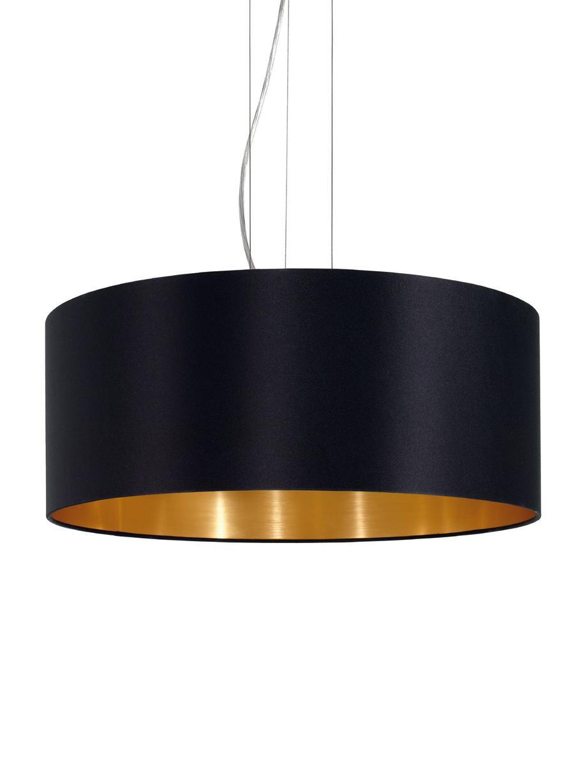 Lampada a sospensione Jamie, Baldacchino: metallo nichelato, Argentato, nero, Ø 53 x Alt. 24 cm