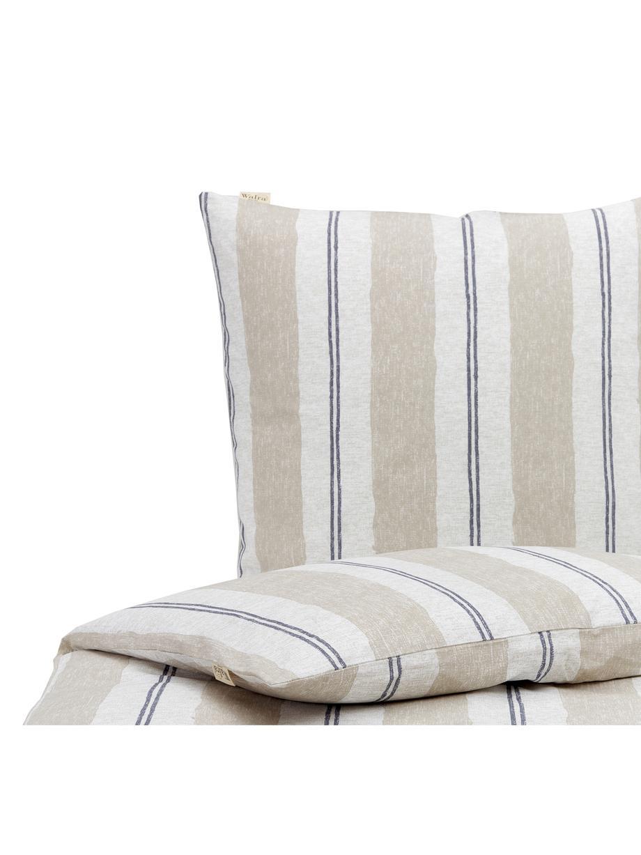 Gestreifte Baumwoll-Bettwäsche Nautic Stripes, Webart: Renforcé Fadendichte 144 , Sandfarben, Beige, Dunkelblau, 135 x 200 cm + 1 Kissen 80 x 80 cm