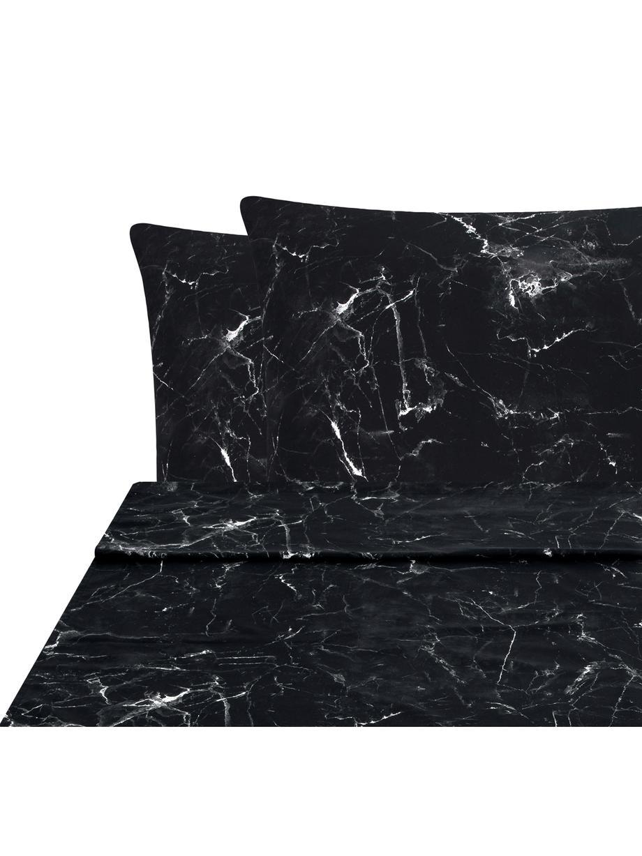 Sábana encimera Malin, Negro, blanco, Cama 90 cm (160 x 270 cm)