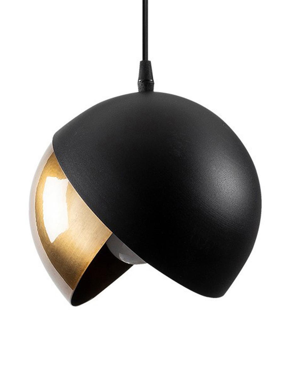 Kleine hanglamp Berceste in zwart-goudkleur, Lampenkap: gecoat metaal, Baldakijn: gecoat metaal, Messingkleurig, zwart, Ø 20 x H 114 cm