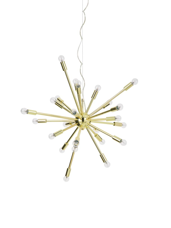 Große Pendelleuchte Spike in Gold, Baldachin: Metall, Lampenschirm: Metall, Goldfarben, Ø 90 cm