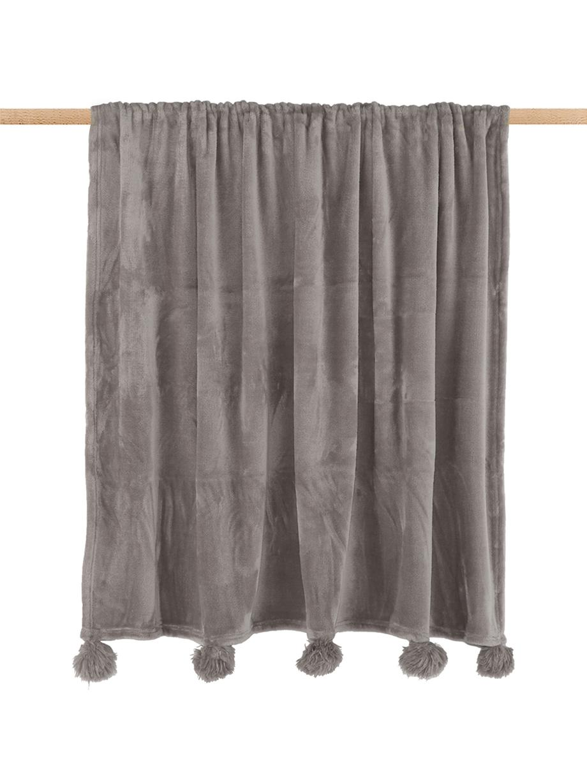 Manta de tela polar Bomla, Poliéster, Gris pardo, An 130 x L 170 cm