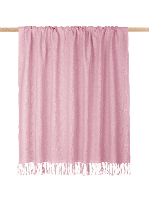 Einfarbige Baumwolldecke Madison in Rosa mit Fransenabschluss, 100% Baumwolle, Rosa, 140 x 170 cm