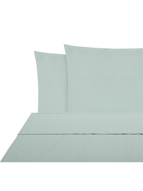 Set lenzuola in percalle Elsie, Tessuto: percalle Densità del filo, Verde salvia, 240 x 300 cm