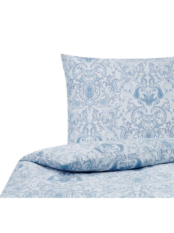 Baumwollsatin-Bettwäsche Grantham mit Paisley-Muster, Webart: Satin Fadendichte 200 TC,, Blau, 135 x 200 cm + 1 Kissen 80 x 80 cm