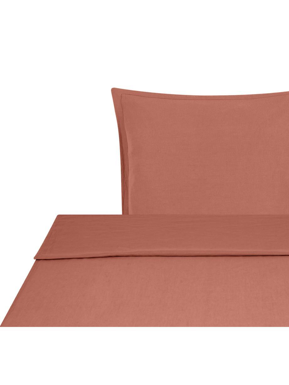 Set lenzuola in lino soffice Nature, 52% lino, 48% cotone Con effetto stonewash per una presa morbida, Terracotta, 155 x 300 cm