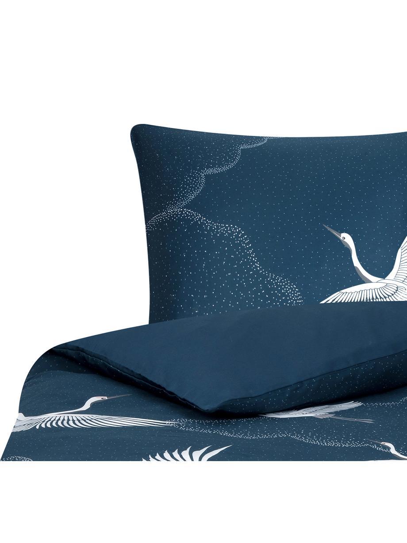 Pościel z satyny bawełnianej Yuma, Niebieski, biały, szary, 135 x 200 cm + 1 poduszka 80 x 80 cm