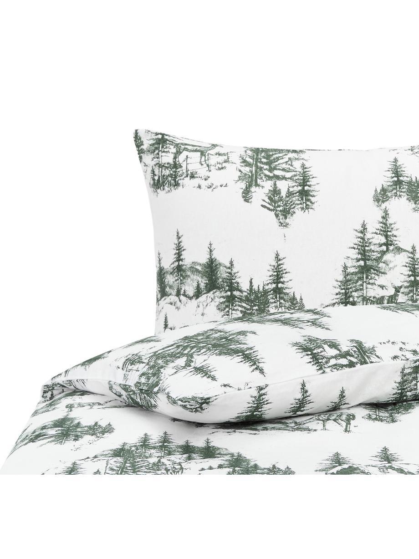 Flanell-Bettwäsche Nordic mit winterlichem Motiv, Webart: Flanell Flanell ist ein k, Grün, Weiss, 135 x 200 cm + 1 Kissen 80 x 80 cm