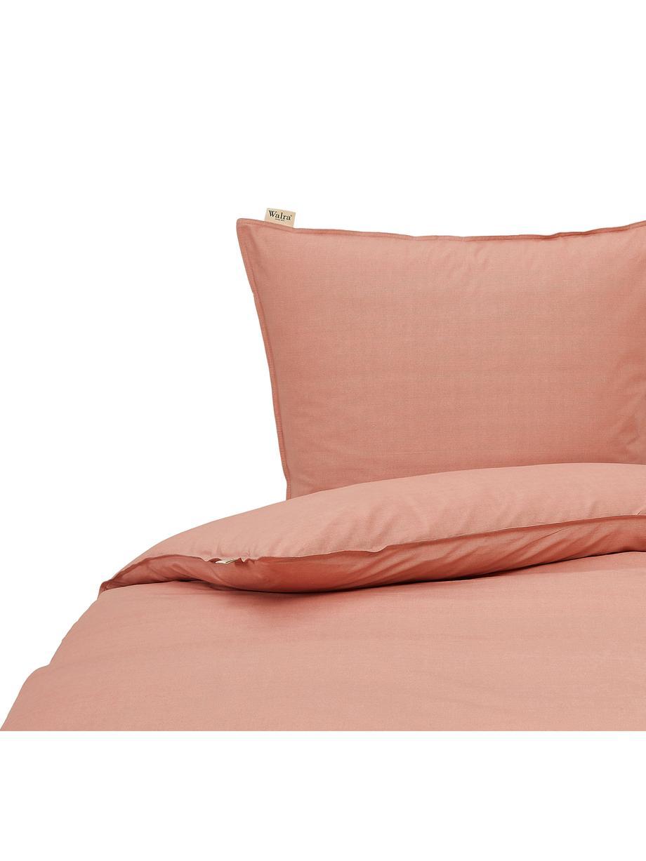 Baumwoll-Bettwäsche Soft mit feinem Struktur-Print, Webart: Renforcé Renforcé besteht, Terrakotta, 135 x 200 cm + 1 Kissen 80 x 80 cm