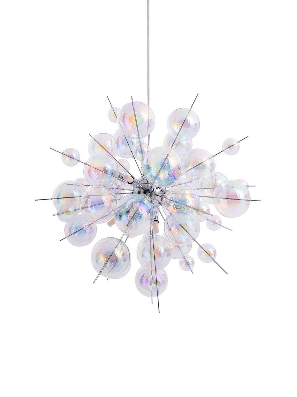 Lampada a sospensione con sfere di vetro Explosion, Baldacchino: metallo cromato, Cromo, trasparente, iridescente, Ø 65
