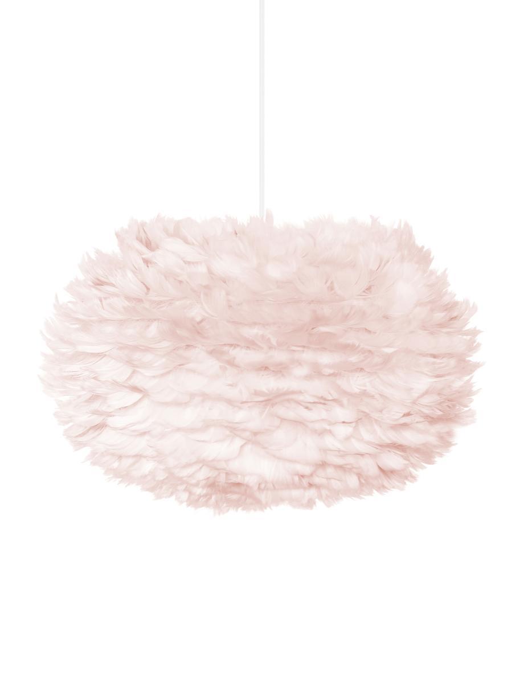 Pendelleuchte EOS aus Federn, Lampenschirm: Gänsefedern, Textil, Baldachin: Kunststoff, Hellrosa, Ø 45 x H 30 cm