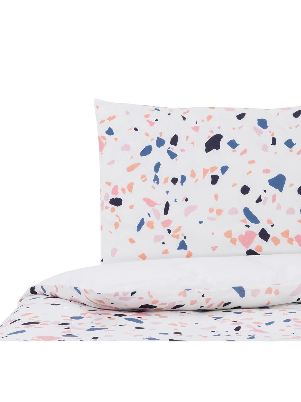 Dubbelzijdig beddengoed Terrazzo, Katoen, Wit, multicolour, 140 x 200 cm