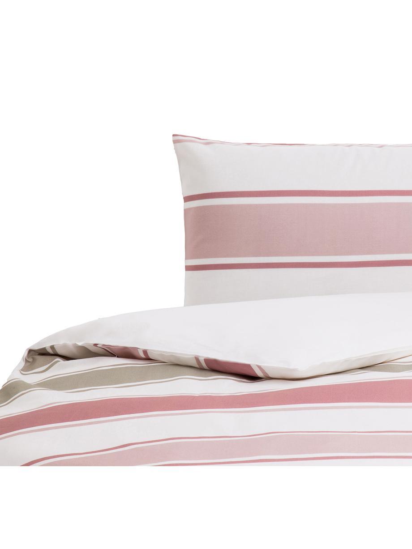 Parure copripiumino in cotone Cappo, Cotone, Fronte: rosso, rosa, verde oliva, marrone chiaro, bianco Retro: bianco, 155 x 200 cm