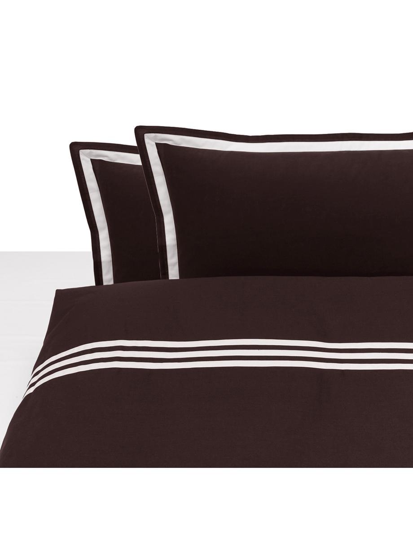Completo copripiumino in cotone Hilton, Cotone, Marrone, bianco, 200 x 255 cm