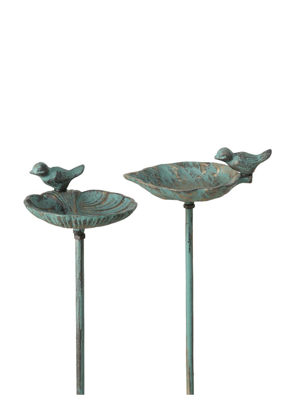 Komplet poidełek dla ptaków Liga, 2 elem., Metal powlekany, Zielony, odcienie złotego z antycznym wykończeniem, S 20 x W 98 cm