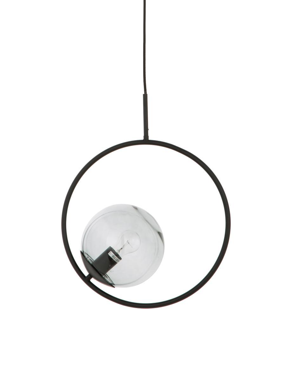 Hanglamp Chloe van glas en metaal, Lampenkap: glas, Grijs, zwart, Ø 20 x H 40 cm