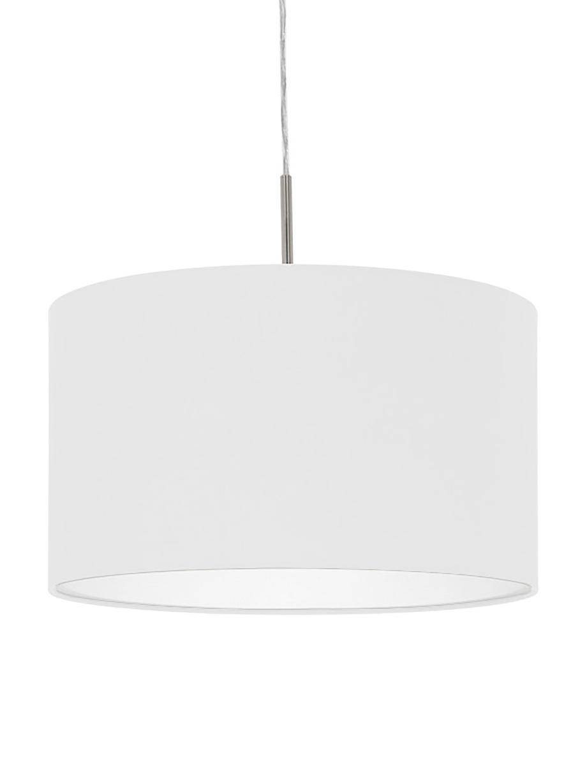 Hanglamp Parry, Baldakijn: vernikkeld metaal, Fitting: vernikkeld metaal, Lampenkap: textiel, Zilverkleurig, Ø 38  x H 22 cm