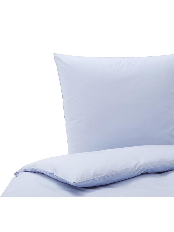 Baumwoll-Bettwäsche Weekend in Hellblau, 100% Baumwolle  Fadendichte 145 TC, Standard Qualität  Bettwäsche aus Baumwolle fühlt sich auf der Haut angenehm weich an, nimmt Feuchtigkeit gut auf und eignet sich für Allergiker., Hellblau, 155 x 220 cm + 1 Kissen 80 x 80 cm