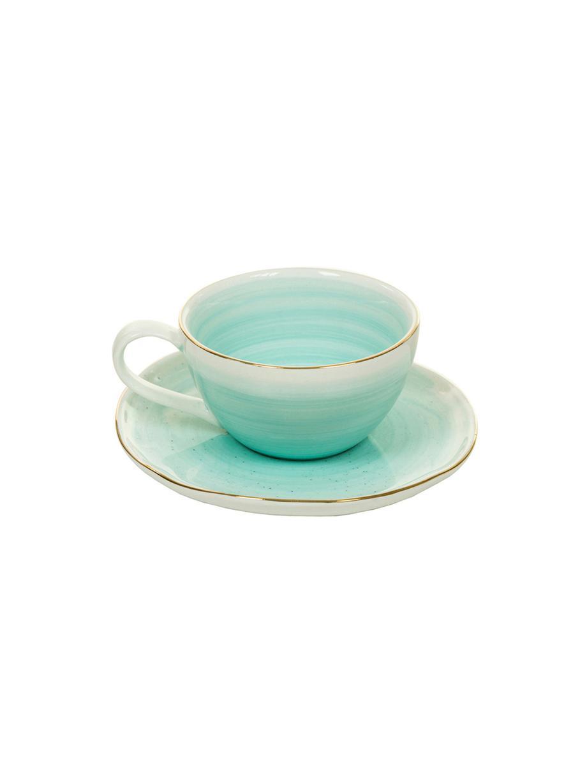 Handgemachte Espressotassen Bella mit Goldrand, 2 Stück, Porzellan, Türkisblau, Ø 9 x H 5 cm