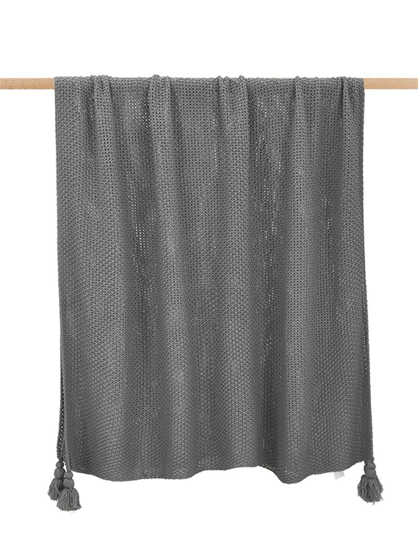 Strickdecke Lisette in Grau mit Quasten, 100% Polyacryl, Grau, 130 x 170 cm