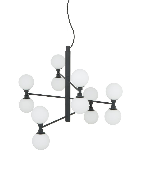 Hanglamp met glazen bollen Grover, Zwart, wit, Ø 70 x H 56 cm