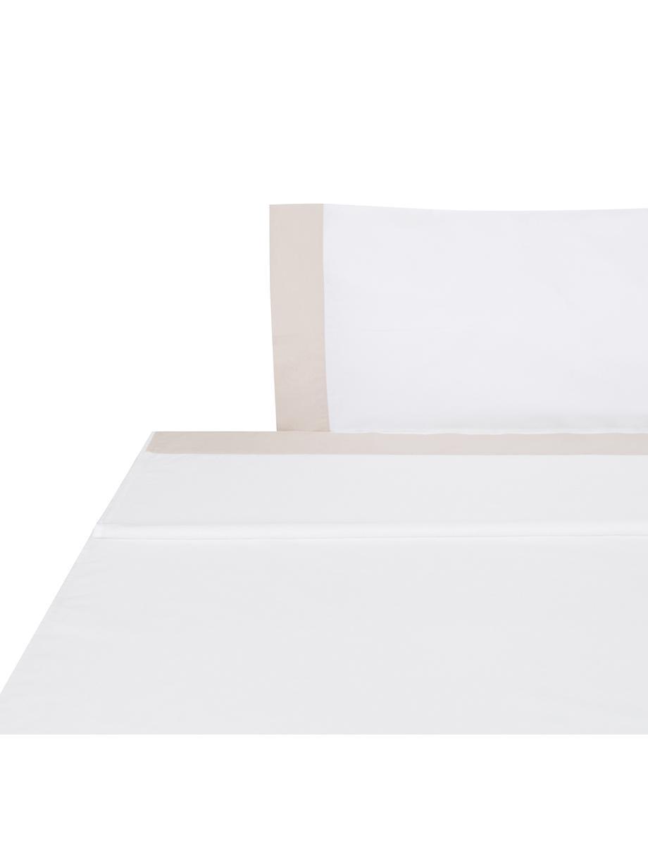 Sábana encimera Camalisa, Algodón El algodón da una sensación agradable y suave en la piel, absorbe bien la humedad y es adecuado para personas alérgicas, Blanco, crema, Cama 90 cm (155 x 280 cm)